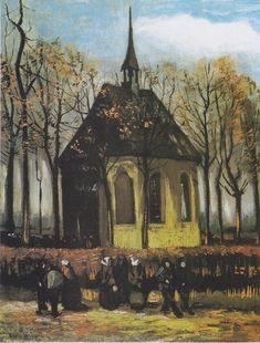 Van Gogh - Die Kirche von Nuenen mit Kirchgängern, 1884