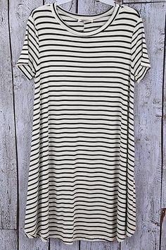 STRIPE SHORT SLEEVETUNIC DRESS - Vintage South Boutique