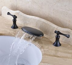 86.94$  Buy now - http://aliur9.shopchina.info/1/go.php?t=32757392489 - Oil Rubbed Bronze Finish Bathroom Sink Faucet Widespread 3pcs Bathroom Basin Mixer Tap Deck Mounted 86.94$ #buyonline