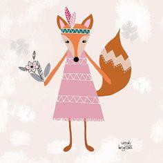 Shy Fox Nursery Wall Art 12 x 12 by agirlandherbrush on Etsy