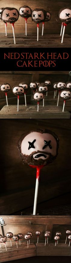 My Ned Stark head Game of Thrones cake pops!