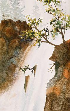 Waterfall. watercolor by Teresa Ascone
