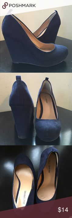 Navy wedges Navy blue faux-suede wedges with round toe. Wore once for a wedding - just too big for me. Call It Spring Shoes Wedges