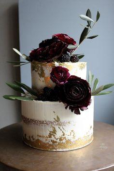 Luxe Gold and Burgundy Wedding Cake by Yolk www.cakesbyyolk.com