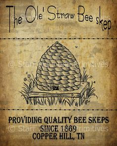 Primitive Bee Skep Honey Pantry Logo Jpeg Digital by Starrmtnprims