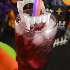 "Liquid Vampire | ""A delicious halloween beverage for adults! Serve with a straw and plastic fangs over straw!"""
