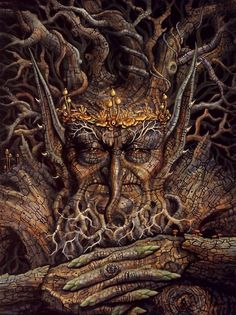 Ent- Ents are a fictional race of humanoid trees from J. Tolkien's fantasy world of Middle-earth. Fantasy World, Fantasy Art, Fantasy Trees, Fantasy Forest, Trolls, Fantasy Character, Tree People, Tree Faces, Tree Carving