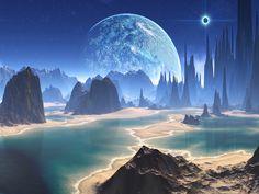 17 Super ideas for fantasy landscape ocean science fiction Fantasy Art Landscapes, Fantasy Landscape, Landscape Art, Fantasy Places, Sci Fi Fantasy, Fantasy World, Science Fiction Kunst, Alien Planet, Alien Worlds