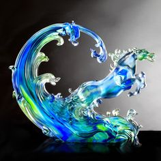 """Horse Figurine (Leadership) - """"Lead a Thousand Troops by Inciting Wind and Water""""   Deluxe Collectible Glass Art   LIULI Crystal Art"""