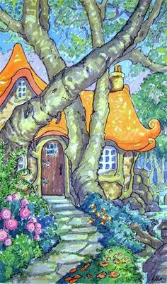 """Daily Paintworks - """"Carmel Inspired Storybook Cottage"""" - Original Fine Art for Sale - © Alida Akers"""
