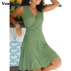 Casual Polka Dot V Neck Sleeveless Bandage Beach Dress Summer Bohemian Dresses Women's A Line Dresses, Blush Dresses, Knee Length Dresses, Casual Dresses, Skater Dresses, Mini Dresses, Dresses Dresses, Party Dresses, Dresses Online