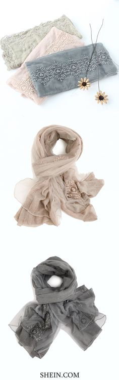 Cute Lace Voile Scarf from shein.com. Super soft & chic!