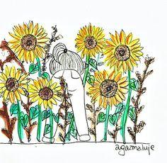 słoneczniki, pupa, kwiaty, pole, bukiet, szukać, agazmaluje, blog rysunkowy, obrazek, ilustracja, cienkopis, akwarela, prezent
