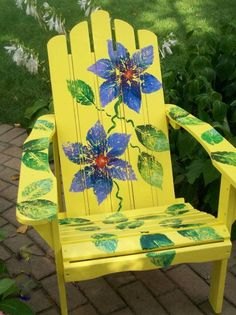 Garden And Lawn , Outdoor Adirondack Chairs : Yellow Flower Painted Adirondack Chairs