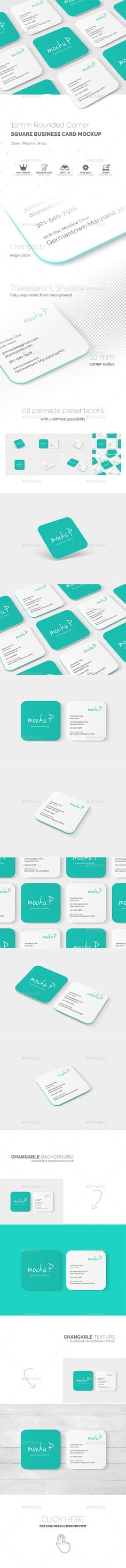 Square Rounded Corner Business Card MockUp  — PSD Template #square business card #mock-up • Download ➝ https://graphicriver.net/item/square-rounded-corner-business-card-mockup/18514750?ref=pxcr