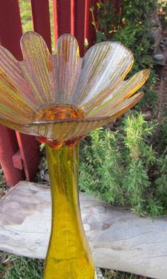 Glass Yard Art Totem Sculpture Bird Feeder Yellow by TheGlassDiva