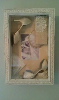 shadow box with wedding shoes, tiara, and wedding picture. I like this one to re… shadow box with wedding shoes, tiara, and wedding picture. I like this one to replicate with my keepsakes! Mod Wedding, Dream Wedding, Wedding Day, Wedding Stuff, Wedding Things, Wedding Bride, Wedding Chair Decorations, Wedding Chairs, Top Wedding Dresses