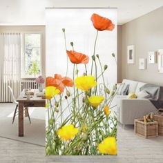 Room divider | Curtain - Wild Flowers 250x120cm Order now at: moebel.lade ...  #250x120cm #curtain #divider #flowers #moebel #order Room Divider Curtain, Wild Flowers, Curtains, Furniture, Home Decor, Products, Material, See Through, Wall