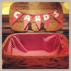 "Card Holder for my ""I Do BBQ"" (Jack & Jill Shower) picnic basket, red gingham fabric , cardstock & twine! Perfect place for your guests cards"