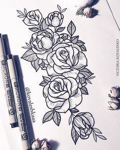 "860 Likes, 4 Comments - Victoria Kovalenko | Tattooer (@kovaleshkaaa) on Instagram: ""Свободный эскиз. По всем вопросам писать ТОЛЬКО в Direct…"" #FlowerTattooDesigns"