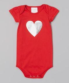 Red Metallic Heart Bodysuit