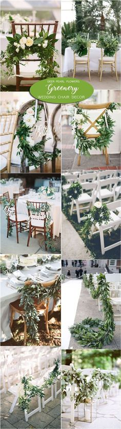 Greenery wedding aisle and wedding chair decor / http://www.deerpearlflowers.com/greenery-wedding-decor-ideas/