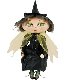 Xanzabelle Witch Joe Spencer Cloth Halloween Doll. Halloween Decorations @ TheHolidayBarn.com