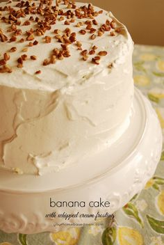 banana cake with whipped cream frosting