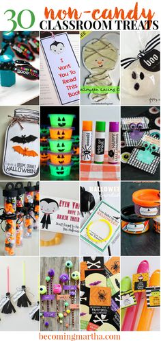 Classroom Halloween Treats that are Candy Free - The Simply Crafted Life - - Looking for some candy free classroom halloween treats for your child this year? Look no further - this post has 30 great ideas for candy free treats! Halloween Class Treats, Halloween Mono, Halloween Goodie Bags, Classroom Halloween Party, Halloween Goodies, Halloween Activities, Cute Halloween Costumes, Halloween Gifts, Classroom Treats