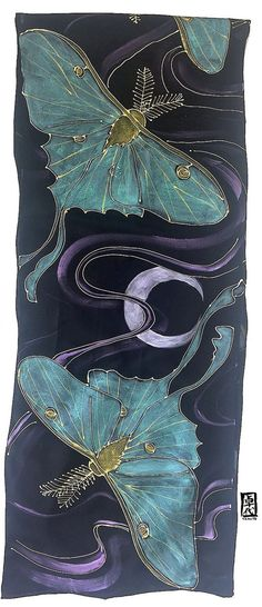 Items similar to Silk Scarf Black Luna Moth, Hand painted Silk Scarf Luna Moth Art, Mint Green and Gold Moon Goddess Luna Moth, Takuyo, Made to order on Etsy Fabric Painting, Fabric Art, Moon Goddess, Black Goddess, Silk Art, Scarf Design, Hand Painted, Painted Silk, Painted Bags