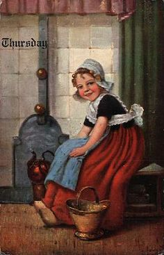 Thursday Dutch Girl♥ Makes Tea ...Days of Week German American Novelty Postcard