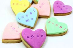 Stamped Conversation Heart Cookies.