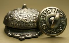 Beautiful mechanical doorbell featuring Eastlake, Baroque and Neo-Grec design elements.  These old-fashioned doorbells make a loud ringing sound when the exterior handle is turned and are available at HouseofAntiqueHardware.com