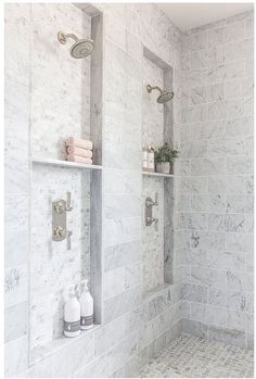 Bathroom shower tile ideas are a lot in choices. Grab some inspirations here and check out these shower tile ideas to revamp your old bathroom shower! Bad Inspiration, Bathroom Inspiration, Bathroom Ideas, Bathroom Organization, Bathroom Showers, Bathroom Storage, Bathroom Cabinets, Marble Showers, Bathroom Designs