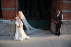 Danielle and Christopher's lovely summer wedding. #Amsale #RealWedding