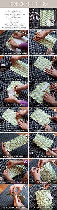 DIY Gift Bag Tutorial siempre es bueno saber como podemos simplicarnos  y ser creativos al mismo tiempo ..hagamos nuestras propias bolsas de regalos utilizando este tutorial....!!!