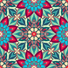Decorative colorful bohemian retro mandala flowers vintage pattern.