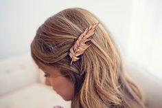 Red Feather // Wood Hair Clip // Laser Cut by LuccaWorkshop