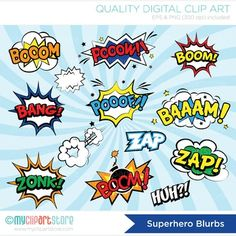 Clipart Superhero / Comic Book / Comic Text by MyClipArtStore Comic Book Superheroes, Comic Books, Superhero Clipart, Comic Text, Silhouette Frames, Superhero Birthday Party, Classroom Crafts, Pop Art, Comics