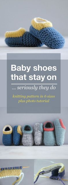 Baby shoe knitting pattern. These are knitted shoe style baby booties that stay on. #babyslippers
