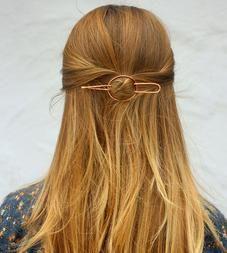 Hammered Oval Hair Barrette & Fork