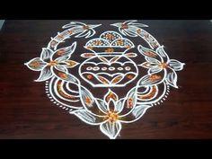 Simple Bhogi Kundala Muggu With 9 x 1 Dots And Sankranthi Rangoli. Indian Rangoli Designs, Simple Rangoli Designs Images, Rangoli Ideas, Rangoli Designs With Dots, Rangoli With Dots, Beautiful Rangoli Designs, Easy Rangoli, Bead Embroidery Patterns, Embroidery Designs
