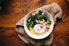 Happyolks | Red Pepper Rapini, White Beans, and Grits