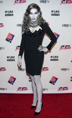 This is not a black and white photo... (The fourth-placed drag queen, Detox, at the RuPaul's Drag Race finale)