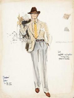 Chinatown wardrobe drawing for Jack Nicholson