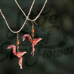 Origami Dancing Pink Flamingos. #origami #style #design #unique #recycled #ecofriendly #paper #jewelry #flamingo #art #fashion #ecofashion #ecojewelry #handmade #etsy #littlerayofsunflower