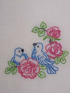 Blue Birds and Roses Hand-Embroidered Organic Cotton Tea Towel