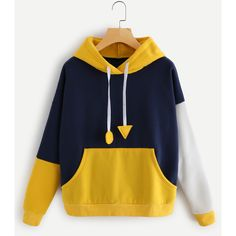 SheIn(sheinside) Color Block Letter Print Drop Shoulder Hoodie ($20) ❤ liked on Polyvore featuring tops, hoodies, multicolor, blue hooded sweatshirt, blue pullover hoodie, pullover hoodie, long sleeve hoodie and long sleeve tops