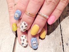 pastel nails, alphabet detail