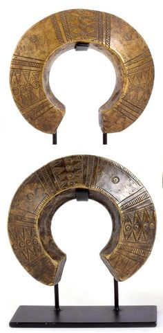 Africa | Two currency bracelets; brass with geometric decoration | 250£ ~ sold (June '14)